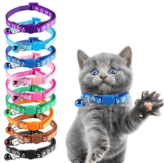 Nylon Cat Collar with Paw Print Design