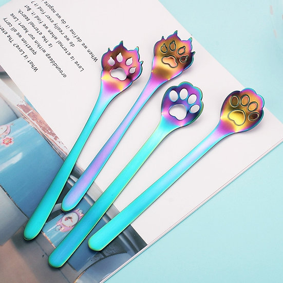 Dog Cat Claw Spoon  Stainless Steel Coffee Dessert