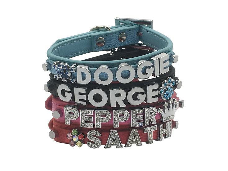 Custom DIY Personalized Dog Puppy Collar 4 colours PU Croc pattern