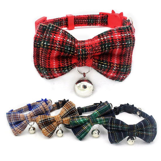 Tartan Plaid Cat Collar with breakaway buckle and bell