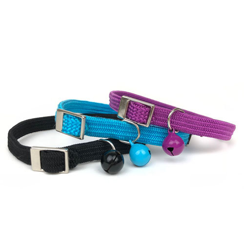 Cattitude Cat Kitten Pet Collar in stretchy nylon with bell.