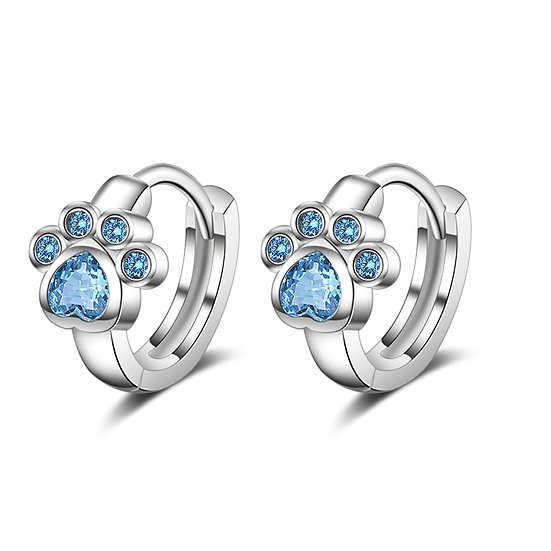 Doggy Paw Blue Crystal 925 Sterling Silver Earrings