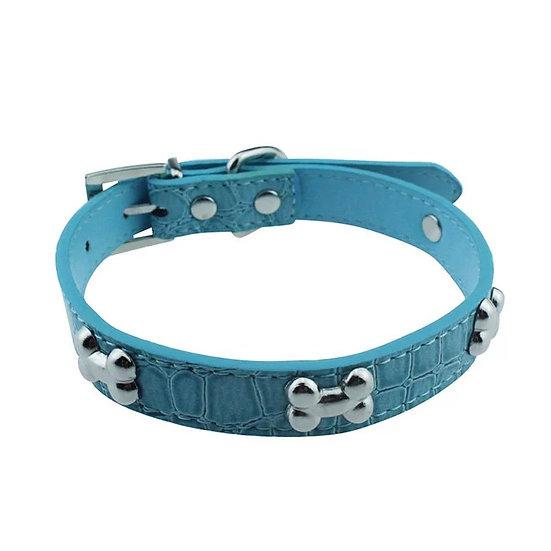 Dog Puppy Collar PU Croc Bone Charm Size S Blue