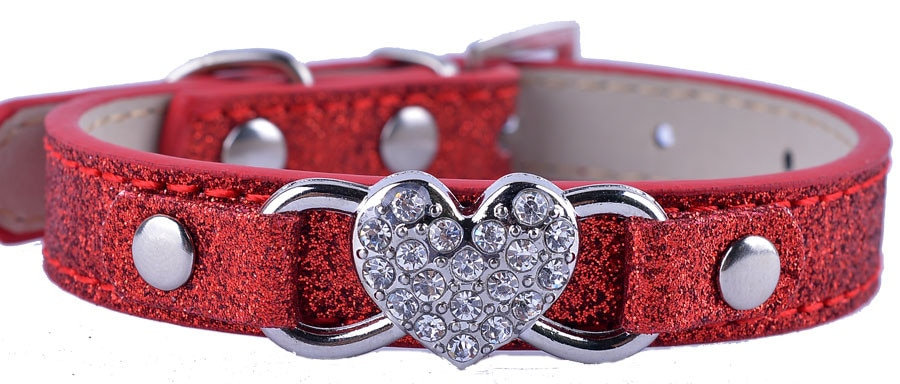 Dog Puppy Collar Bling Heart Glitter Sparkle Size S Red