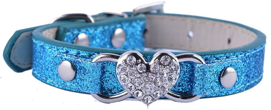Dog Puppy Collar Bling Heart Glitter Sparkle Size S Blue