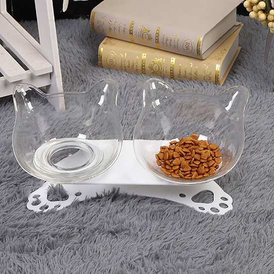 Pet Cat Elevated Double Food or Water Bowls on Raised Stand