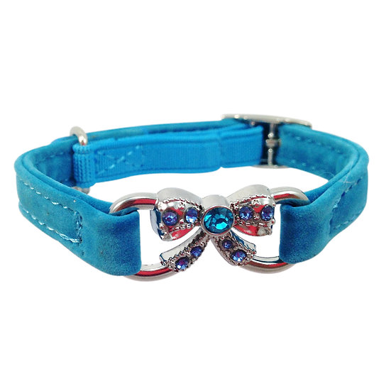 Suede Bling Cat Collar with Rhinestone Bow in Sky Blue
