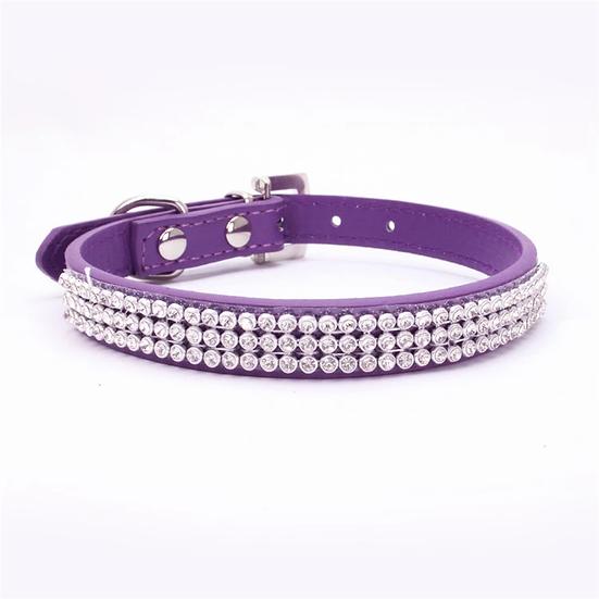 Dog Puppy Collar Triple Rhinestone Purple Size S