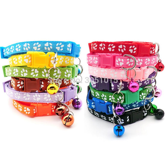 Paw Print Puppy Collar in 12 colours