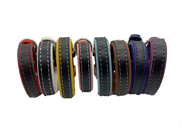 Dog Puppy Collar featuring Contrast Genuine & PU Leather