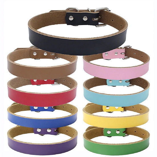 Genuine Leather Dog Collar in 7 colours 2 sizes