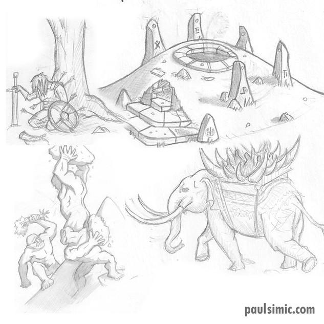 Boromir, Barrow Wight, Stone Giants, Oliphaunts