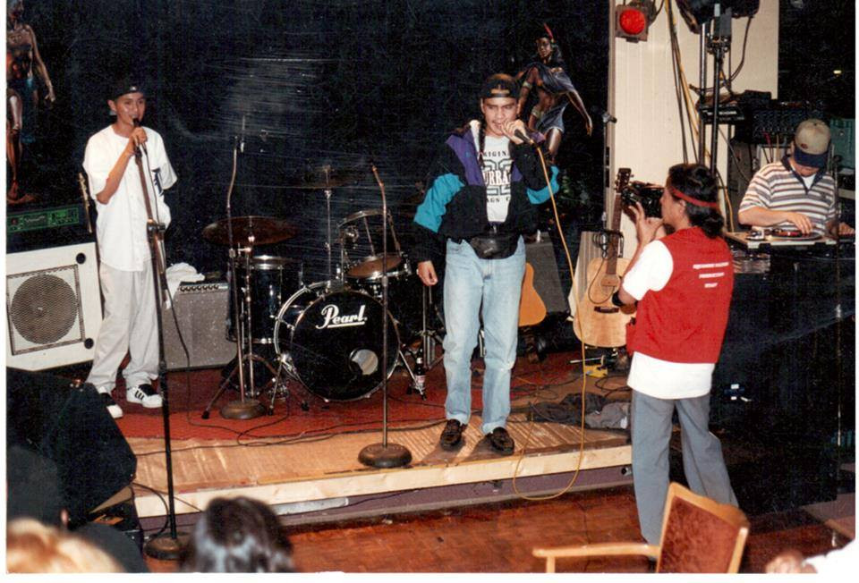 Ostwelve (left) and SPL (right) at Nelson Place for Red Slam Jam in 1995.