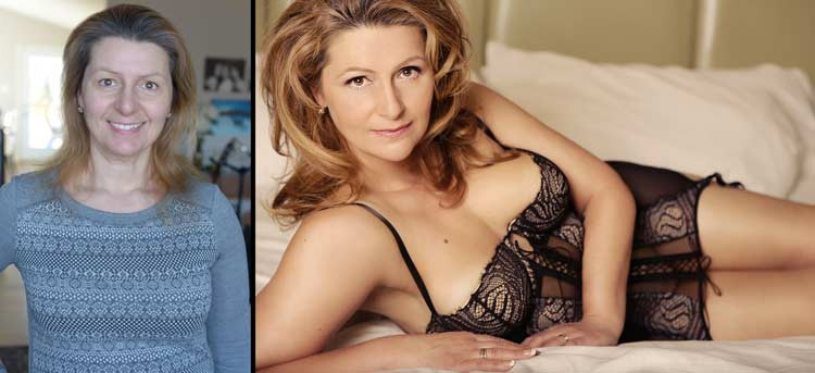 Boudoir before and after photo of beautiful mature woman.