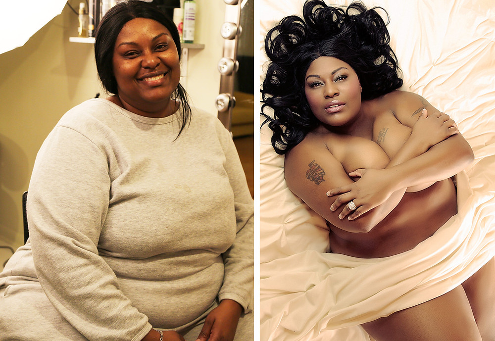 Before and after boudoir image of bbw woman of color. Plus sized black woman boudoir before and after photo.
