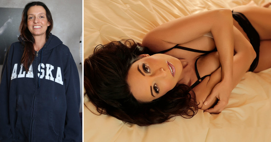 Before After glamour boudoir photography de