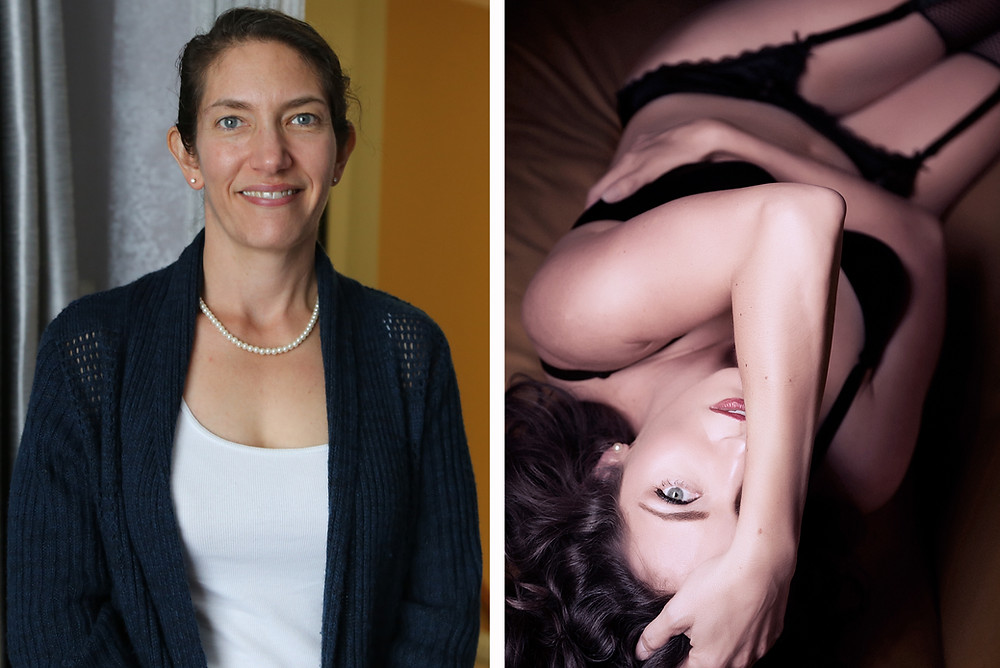 Before and after boudoir photo of mature woman.