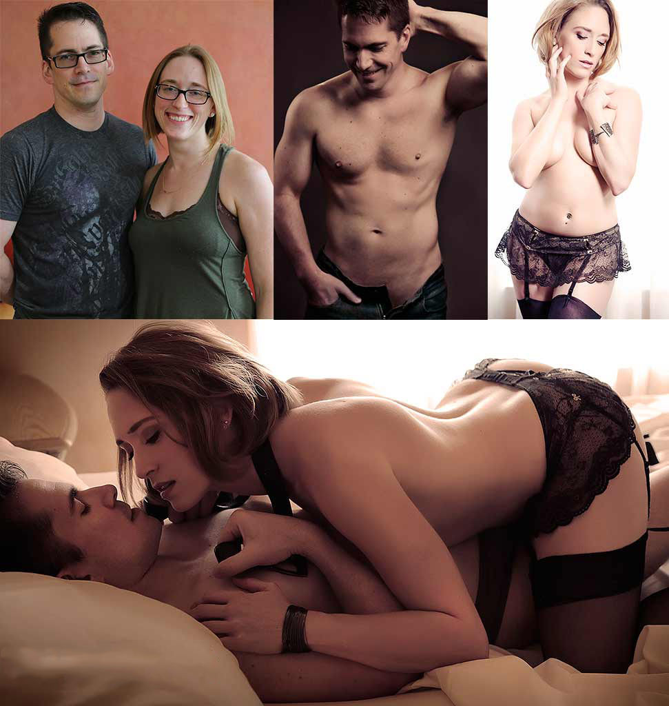 Couples boudoir photo - before and after glamour picture of sexy couple.
