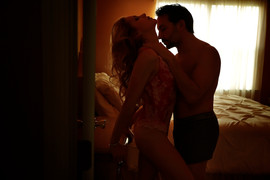 dark sexy moody couple boudoir