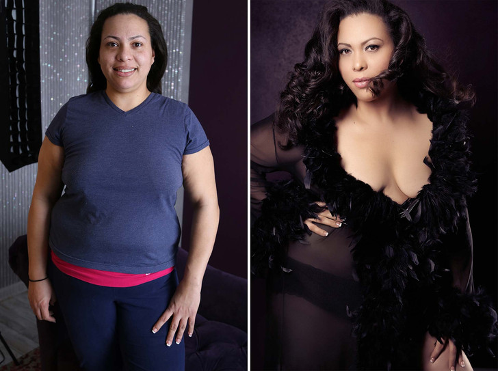 before and after boudoir plus sized
