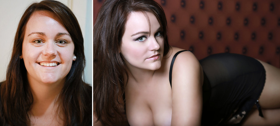before after glamour nude boudoir