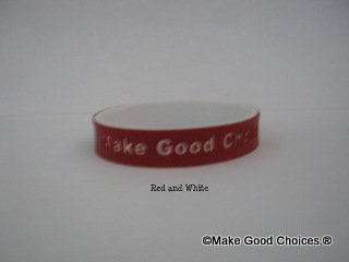 Wrist Band Crimson Red With White Letters