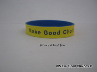 Wrist Band Yellow With Blue Letters