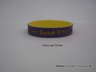 Wrist Band Purple With Yellow Letters
