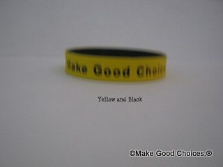 Wrist Band Yellow With Black Letters