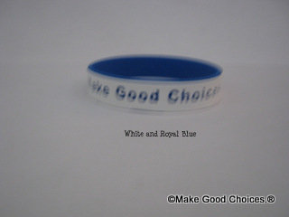 Wrist Band White With Blue Letters