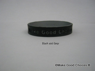 Wrist Band Black With Gray Letters