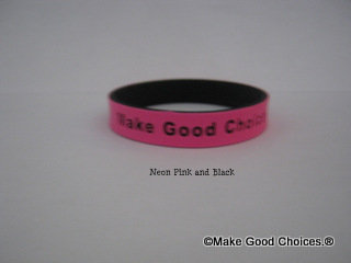 Wrist Band Pink With Black Letters