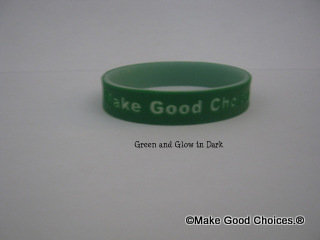 Wrist Band Green With Glow In Dark Letters