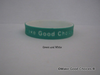 Wrist Band Green With White Letters