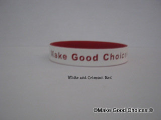 Wrist Band White With Crimson Red Letters
