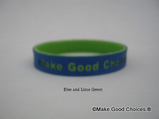Wrist Band Blue With Lime Green Letters