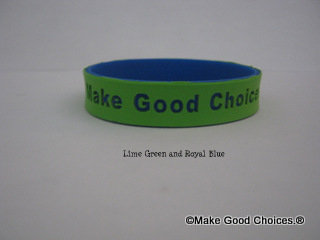 Wrist Band Green With Blue Letters