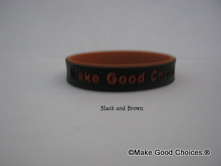 Wrist Band Black With Brown Letters