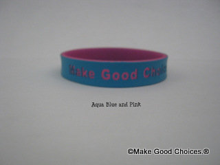 Wrist Band Aqua Blue With Pink Letters