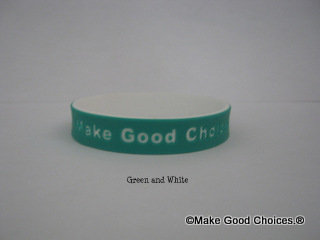 Wrist Band Light Green With White Letters