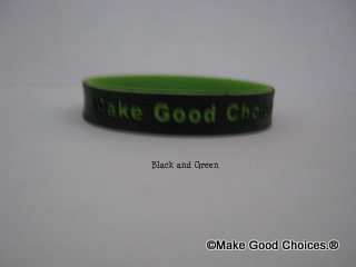 Wrist Band Black With Green Letters