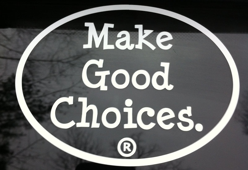 "Make Good Choices.® 5"" Oval White Vinyl Stickers Item 2000"