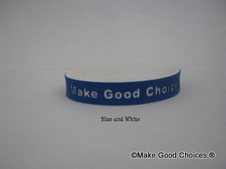 Wrist Band Blue With White Letters