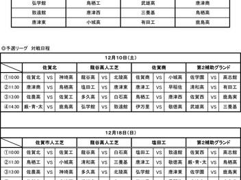 H28年度佐賀県高等学校サッカー新人大会予選リーグ組合せ
