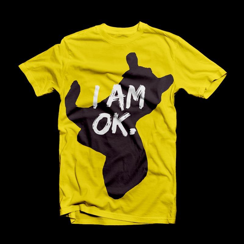 OK T-Shirt Print Amarelo