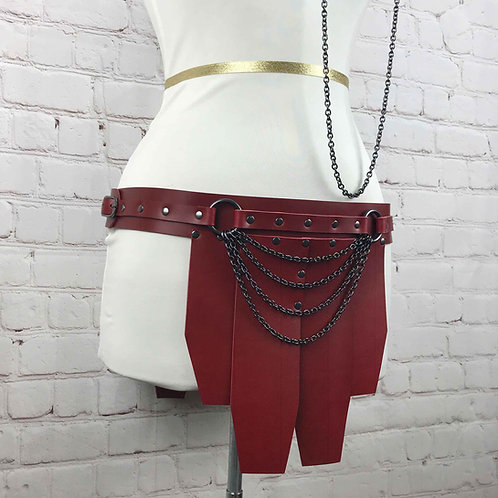 Red Leather Skirt & Restraints | Gladiatrix Outfit