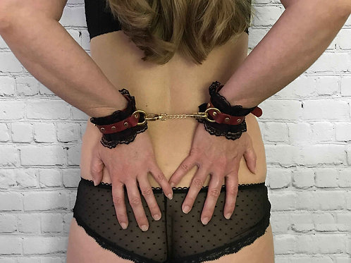 Leather & Lace Restraints | Black with Red Lace