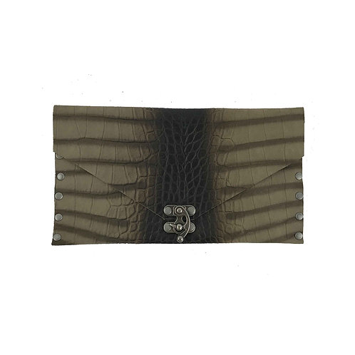 Leather Clutch | Crocodile Embossed