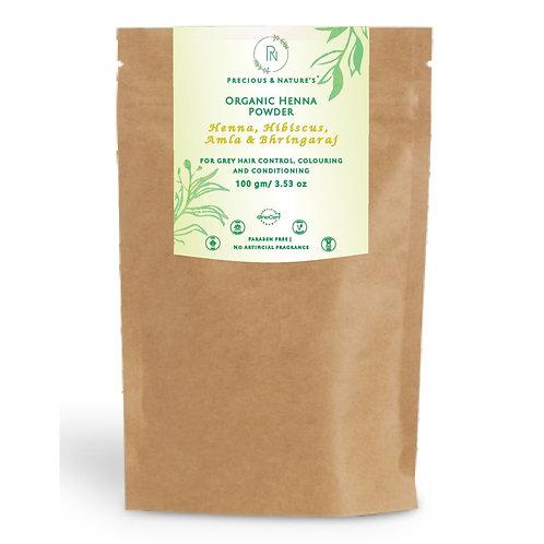 Henna, Hibiscus, Amla & Bhringaraj Organic Henna powder