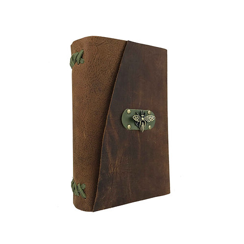 Main image of large hand-bound brown bison leather journal with green accents and unique brass bee closure.